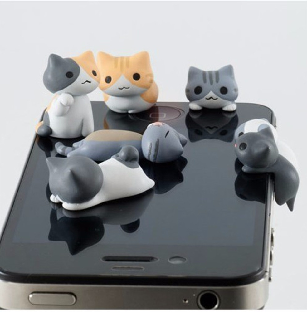 Wholesale 6pcs/set lovely cat dustproof plug for iphone cute headphone dust plug