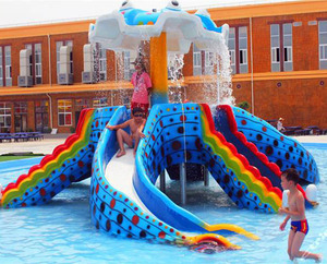 Blue small kids octopus swimming pool used water slides for sale