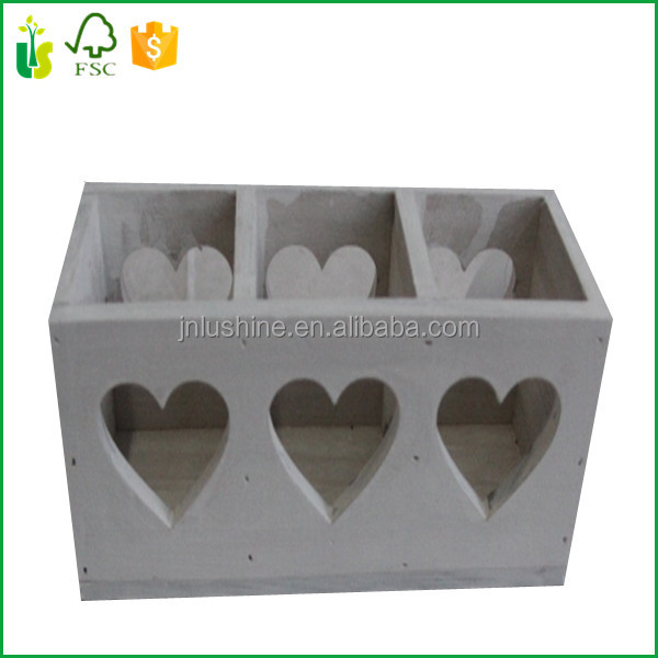Christmas Decorative Wooden Candle Holder With Heart Hollow- Out