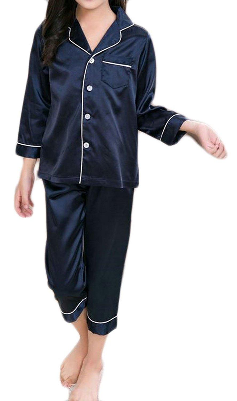 04516663a4d2 Get Quotations · Pandapang Girls  Satin 2 Piece Shirt and Pants Sleepwear  Pajama Sets