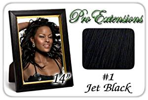 """Pro Extensions, 14"""" x 39"""" #1 Black 100% Clip on in Human Hair Extensions"""