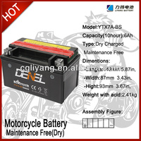 LIYANG DENEL brand 12V 7AH motorbike batteries with maintenance free