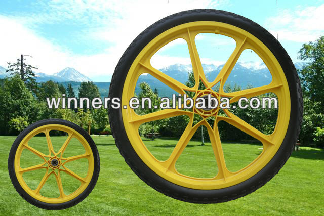 light weight plastic wheel garden cart wheel bike bicycle trailer wheel 20''