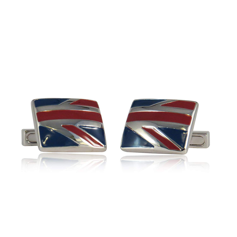 Cuff-Daddy Red & Blue Enamel Cufflinks Reminiscent of Union Jack British Flag with Presentation Box