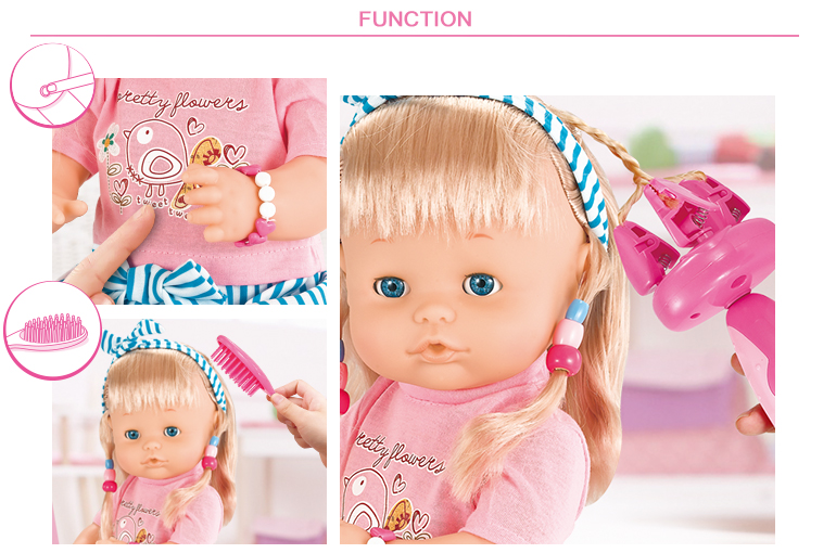 Online-Shopping-Baby-Puppe Pretend Play 16-Zoll-Mode Ic Girl Pee Puppe Spielzeug mit Haartrockner
