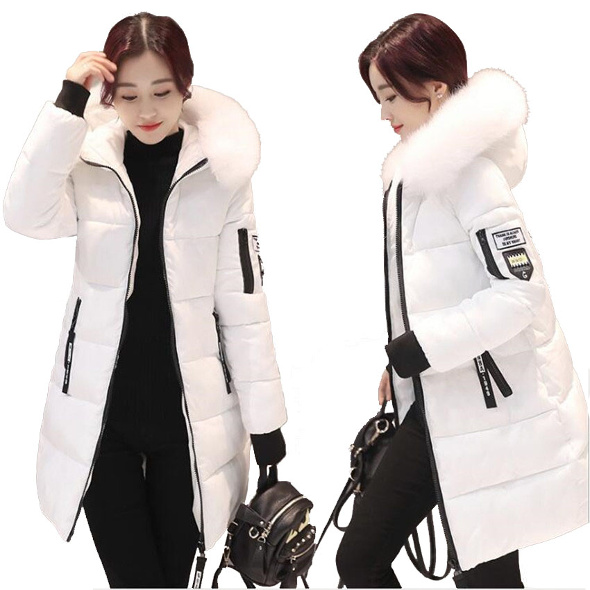 Plus Size Winter Cotton Coat Fur Collar Long Slim Quilted Jackets Zipper Warm Outwear Women Coat Buy Women Coat Long Down Jackets Women Plus Size