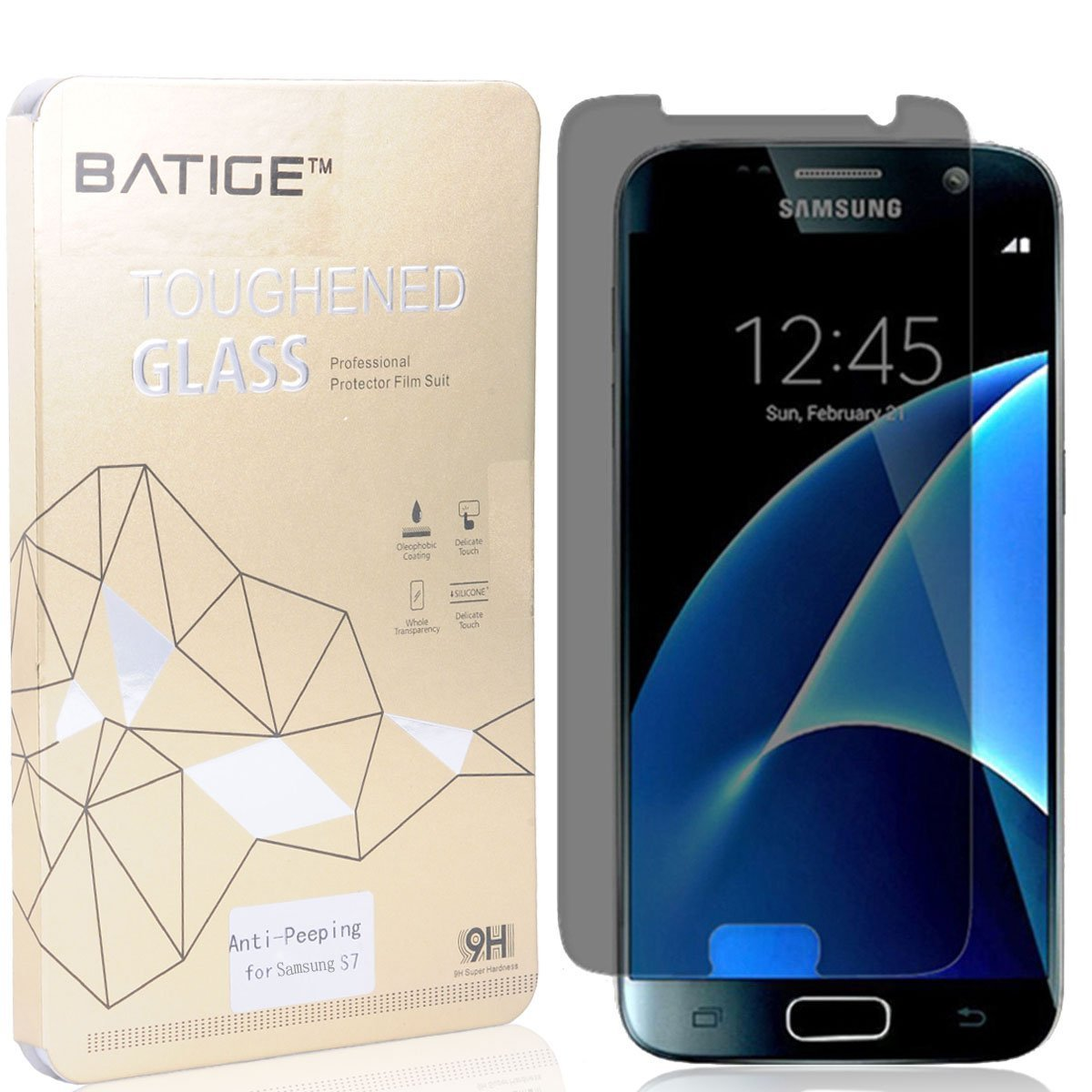 BATIGE Privacy Tempered Glass Screen Protector For Samsung Galaxy S7 Anti-Peeping Anti Spy