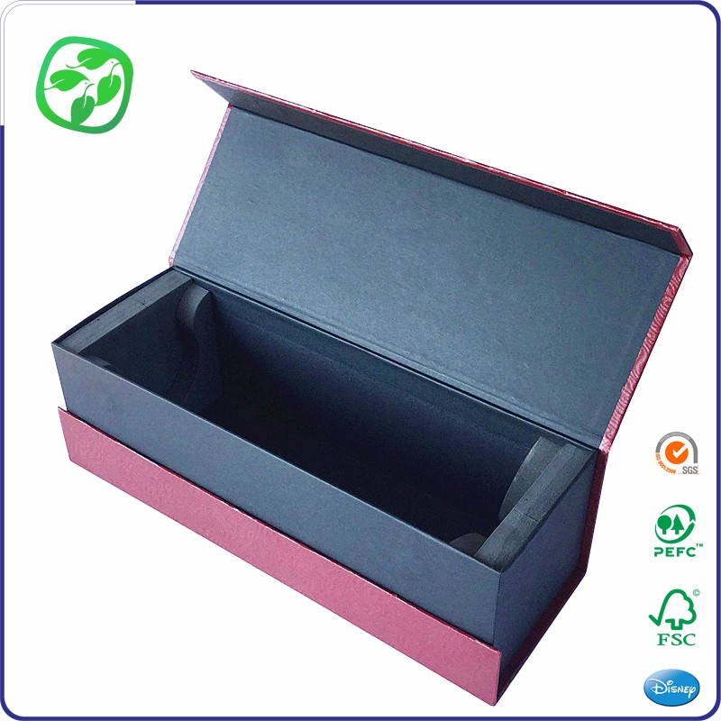 customized brand magnet wine box factory, middle open paper wine box