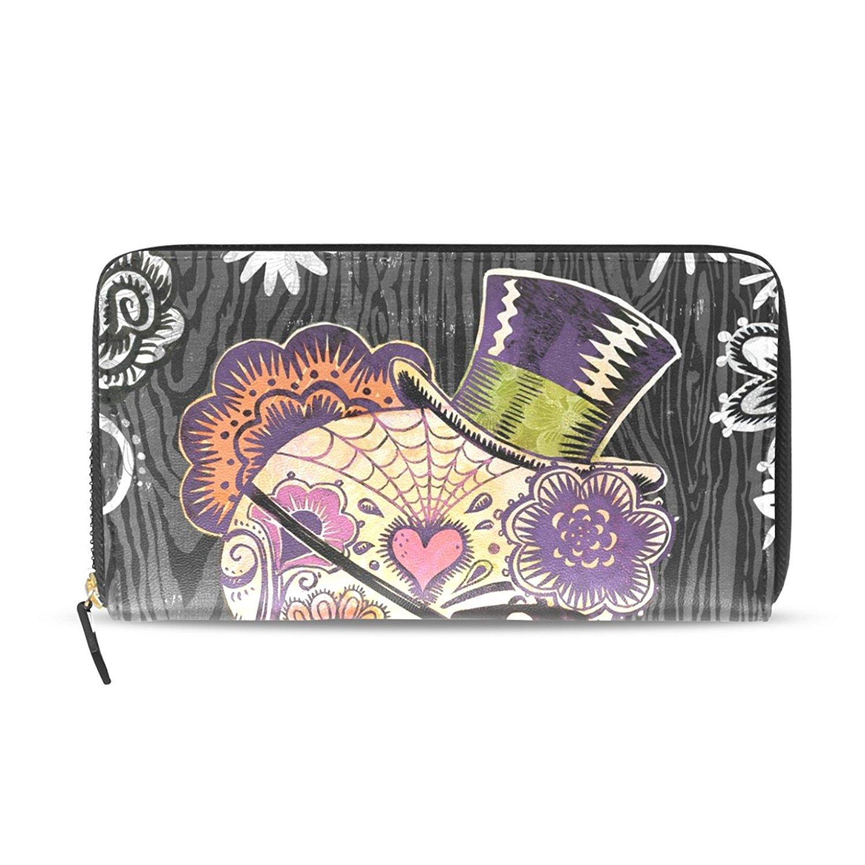 Sunlome Sugar Skull Flower Pattern Handbags For Women Girls PU Leather Shoulder Tote Bag