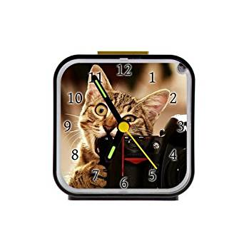 The Fame Cats Bite Funny Custom Square Black Alarm Clock As A Nice Gift Black 3.27Inch