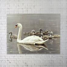Beautiful realistic animal oil painting for swan with her children