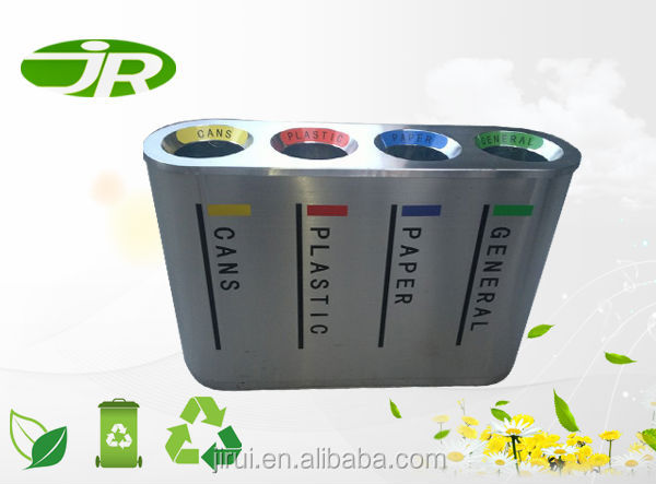 stainless steel garbage rubbish 4 compart bin