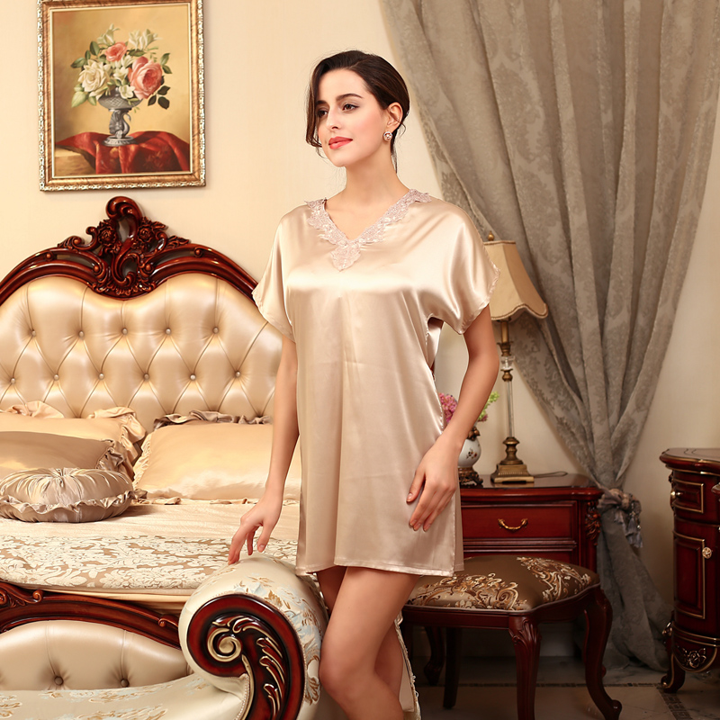 Ladys Pajama Women Satin Night Gown Mature Women Sleepwear ...