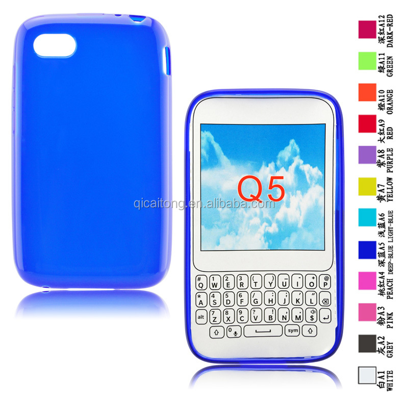 Matte inside clear outside cell phone tpu case for BlackBerry Q5