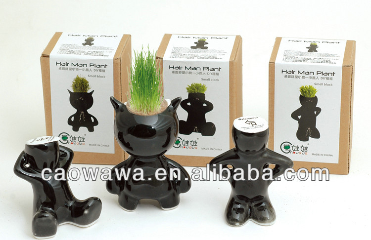 Set of Mini White Grass Doll Hair Men Garden Plant ,Ceramic Bonsai Pots (3BLACK Dolls)
