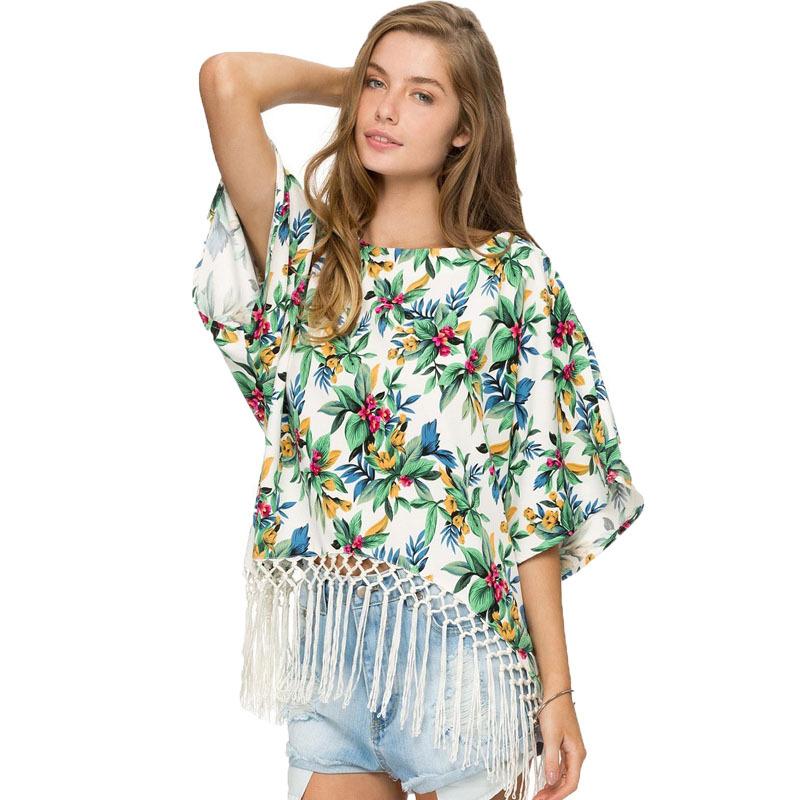4f3e1995b08 Get Quotations · Women Blouses 2015 Summer Floral Kimono Fringe Kimonos Ladies  Chiffon Blouse Batwing Sleeve Camisas Femininas Plus