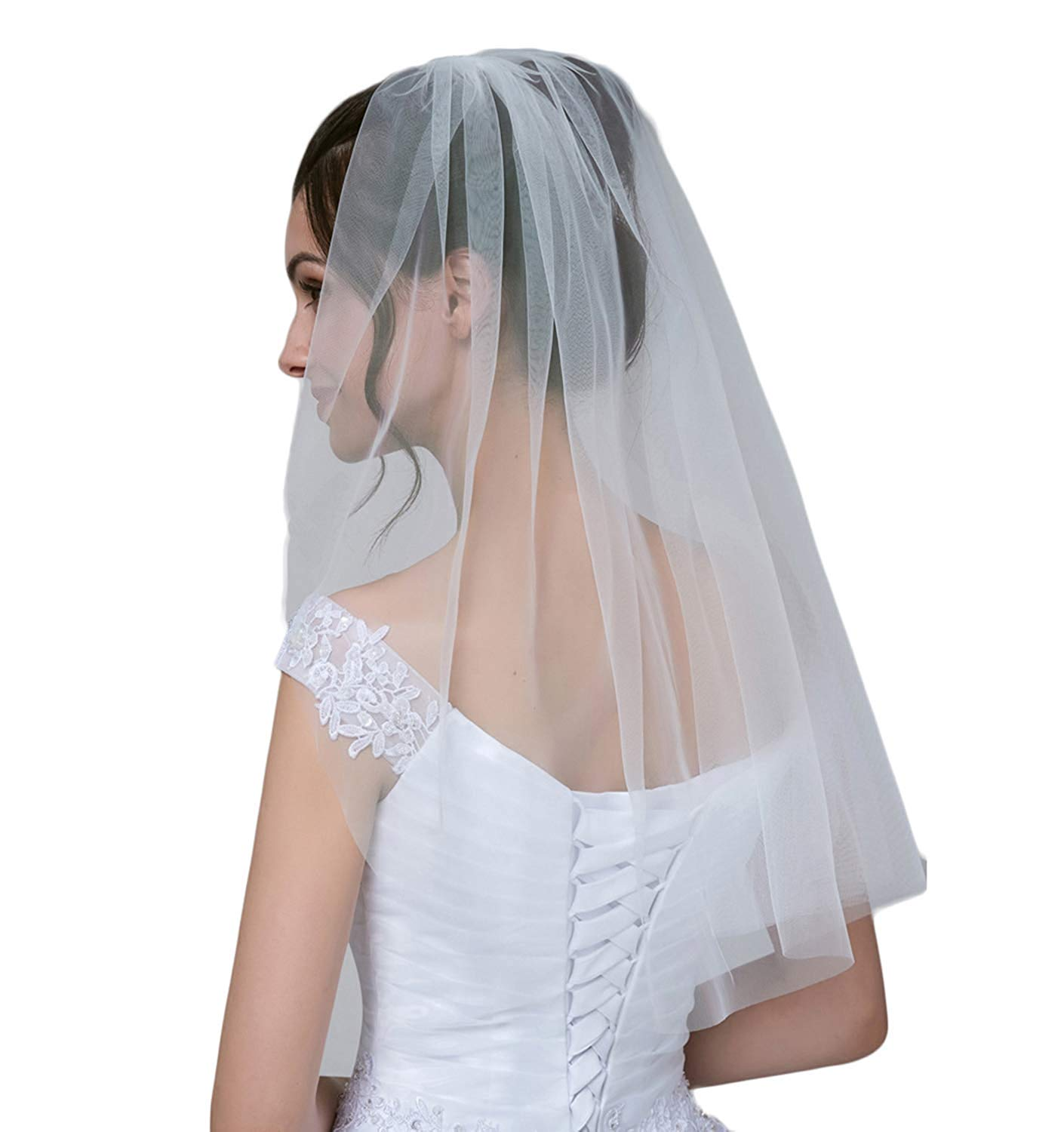 Single Tier Tulle Bridal Veils Short First Communion Veils With Comb