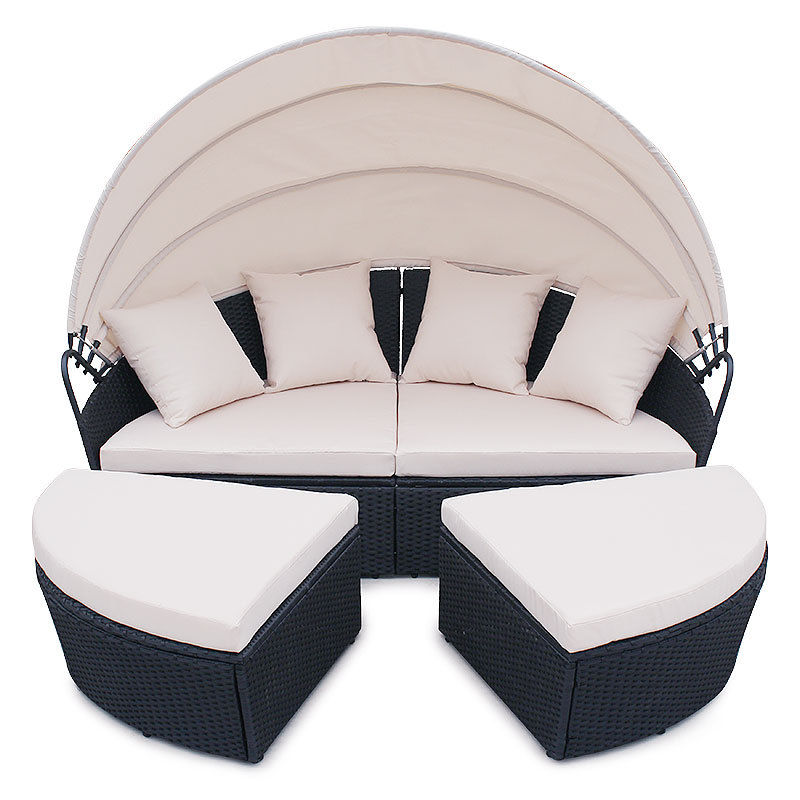 4 Pc Cushioned Outdoor Wicker Patio Set Garden Lawn Rattan Sofa Bed Furniture Round Retractable Canopy Buy Garden Outdoor Sofa Bedgarden Outdoor