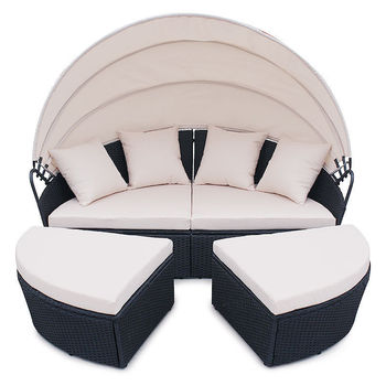4 Pc Cushioned Outdoor Wicker Patio Set Garden Lawn Rattan Sofa Bed Furniture Round Retractable Canopy