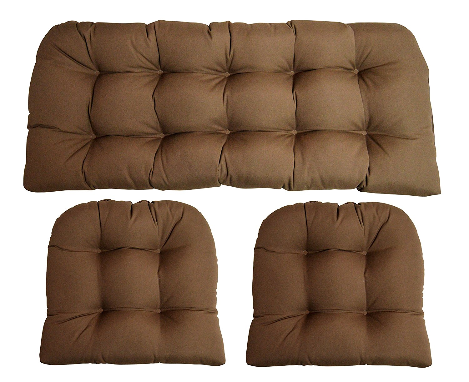 Sunbrella Canvas Cocoa Brown 3 Piece Wicker Cushion Set - Indoor / Outdoor Wicker Loveseat Settee & 2 Matching Chair Cushions