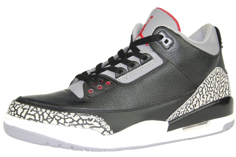 612ffbd3edbe0a Get Quotations · Nike Air Jordan 3 Retro Black Cement Leather Sneaker