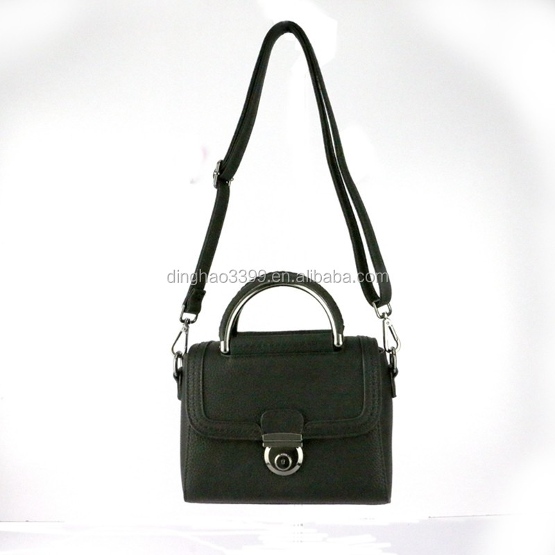 Hot selling new design ladies small black pu leather tote bag for ladies
