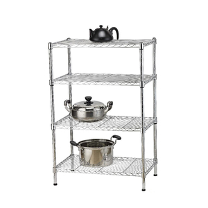 NSF&ISO Kitchen Chrome Wire Shelving 4 Layers Black Powder Coated Metal Rack Shelf Grocery Storage