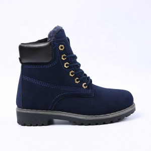 Canadian winter leather fashion navy blue women military boot army shoe