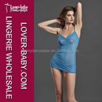 Beloved Hot Sale Blue Nylon Top No Bra Women s See-through Sleepwear ... 906eadc3cb