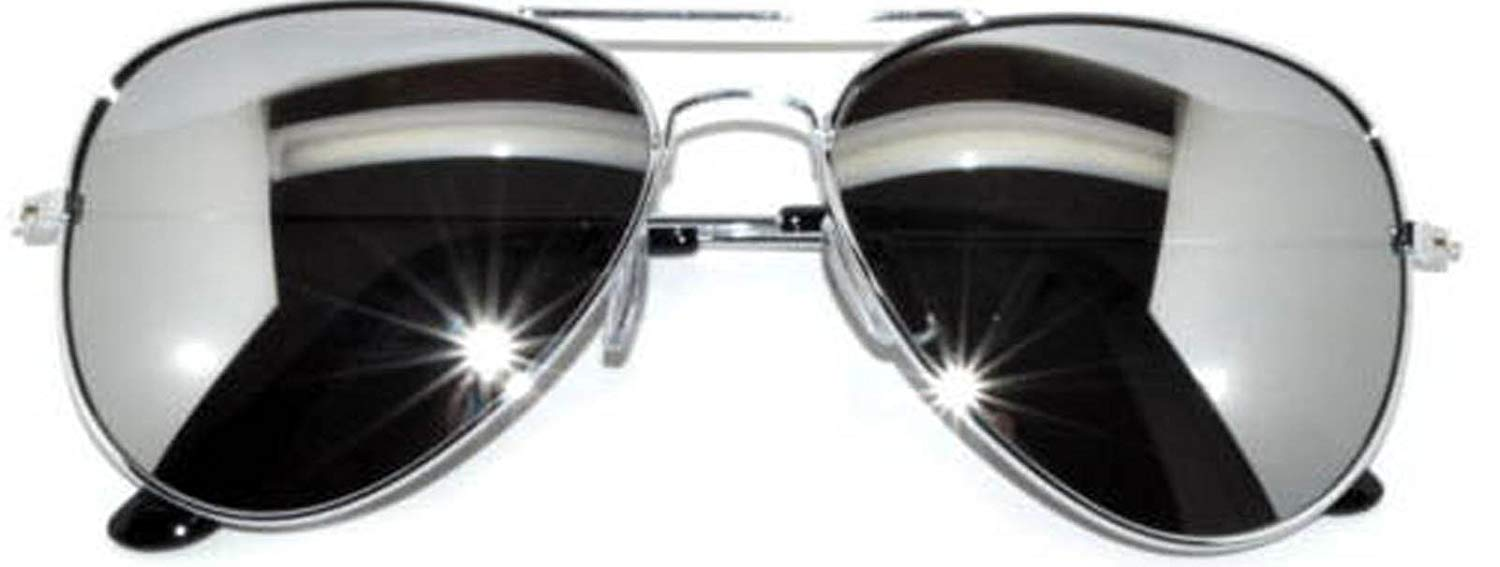 e664e390f2 Get Quotations · Classic Aviator Sunglasses Full Mirror Lens Metal Frame  Silver Color UV Protection