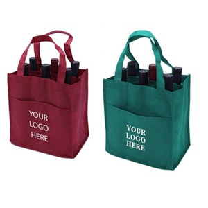 Durable 100% Recycle Fabric Material Promotional Carry Non Woven 6 Bottle Wine Tote Bags