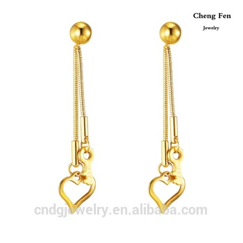 Women Jewelry Body Gold Hanging Earrings With Heart Key 3cm Length Designs