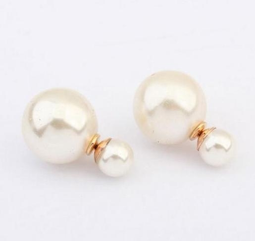 hot sell <strong>fashion</strong> 16MM Big Imitation Pearl Stud Earrings Elegant Double Sided Stud Earrings For Women