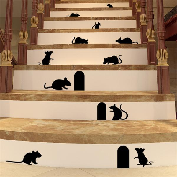Cute mice run in your house cute cartoon wall stickers home decor Rats vinyl wall stickers vivid mirror wall stickers home decor