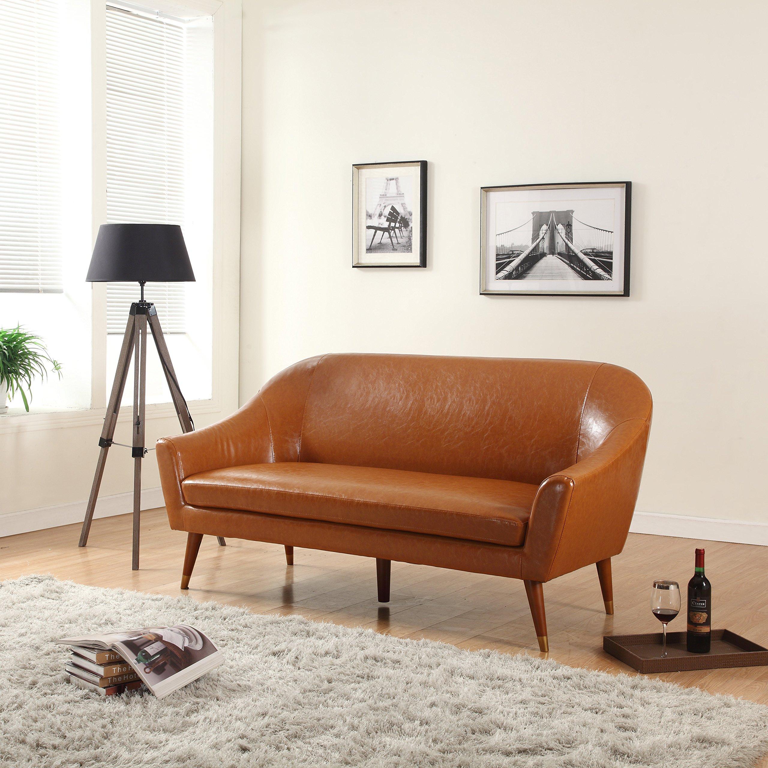 Buy Divano Roma Furniture - Mid Century Modern Sofa - Bonded Leather ...