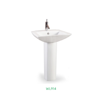 Design Cylindrical Floor Standing Bathroom Pedestal Ceramic Wash Hand Basin With Stand WL-914