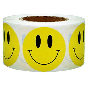 "Yellow Smiley Face Happy Stickers 2"" Inch Round Circle Teacher Labels Stickers"