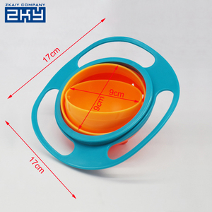 Baby Kid Boy Girl Gyro Feeding Toy Bowl Dishes Non Spill-Proof Universal 360 Rotate Bowl