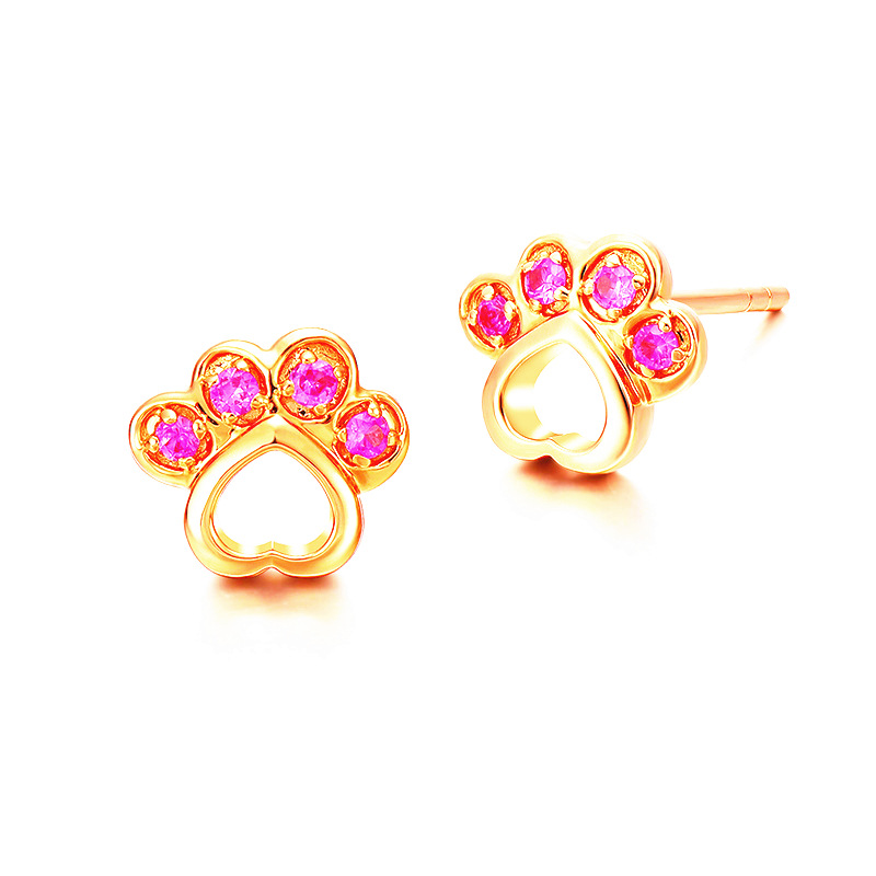 18k rose gold plated dog paw earrings with red gemstone