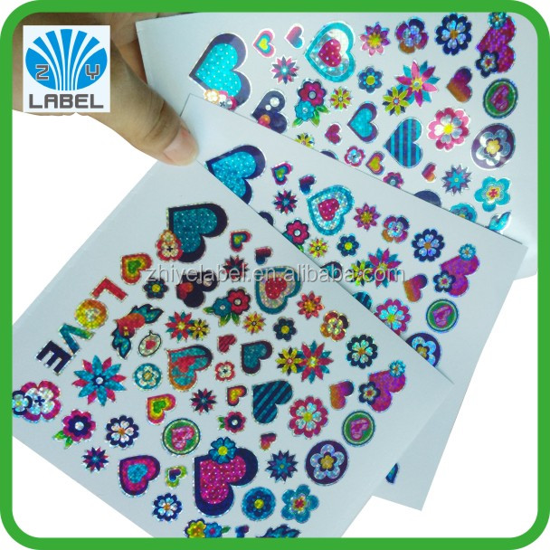 Fancy laser decal sticker colorful die cut decal sticker adhesive decal sticker