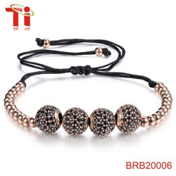 hot copper beads with 3A zircon inlay stainless steel jewelry rhinestone evil eye bracelet gold plated beads for jewelry making