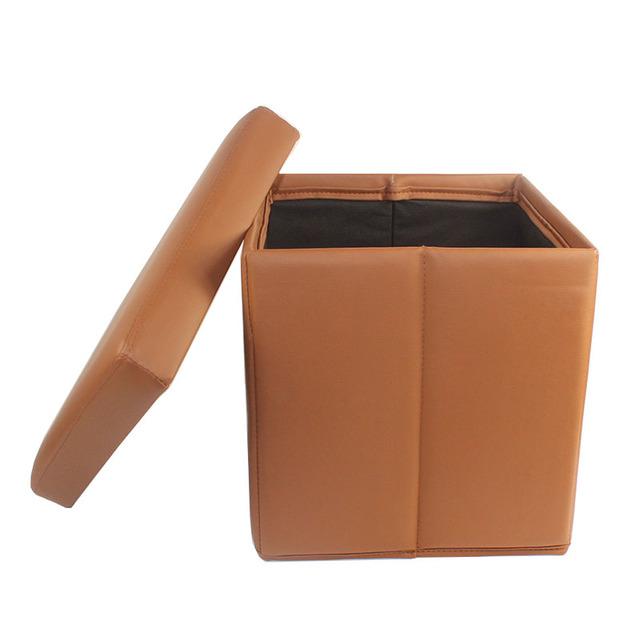WD OT01BR Brown PU Leather Ottoman/ Folding Ottoman/ Storage Ottoman