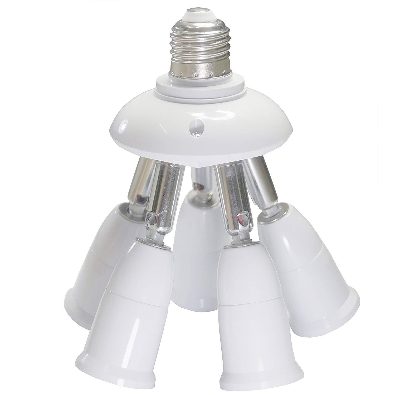 Sun-Rising 5 in 1 E26/E27 Splitter Socket Adapter, E26/E27 Standard LED Bulbs Holder, Converter Chandelier Socket with 360 Degrees Adjustable 180 Degree Bending