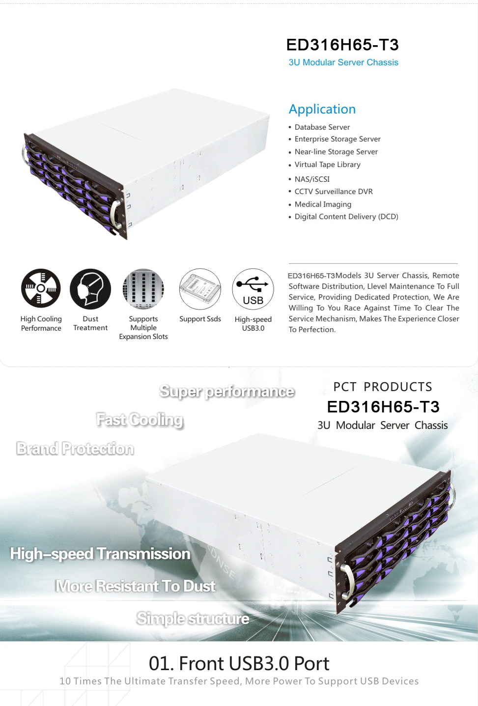 ED316H 16 bays hot swap 3U server chassis