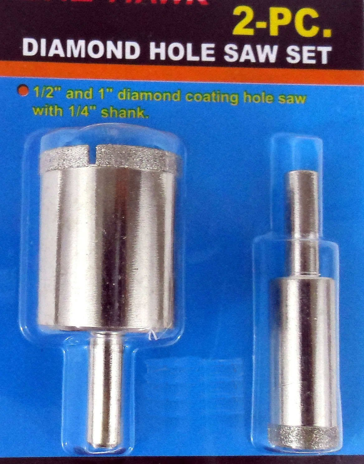 "New 2pc 1/2"" 1"" Diamond Hole Saw Drill Bit Set Ceramic Tile Marble Glass Granite"