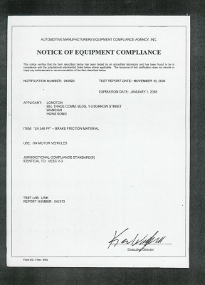 Notice Of Equipment Compliance