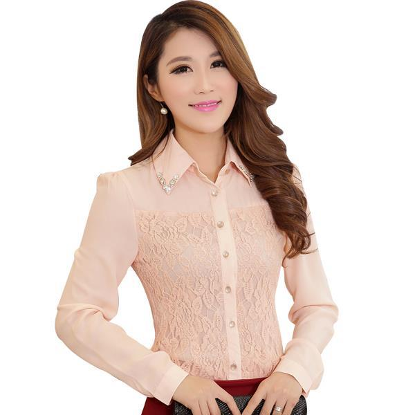 Spring New 2015 Women Chiffon Lace Blouse White / Pink Plus Size S-3XL Korean Style Floral Embroidery Office Lady Shirts