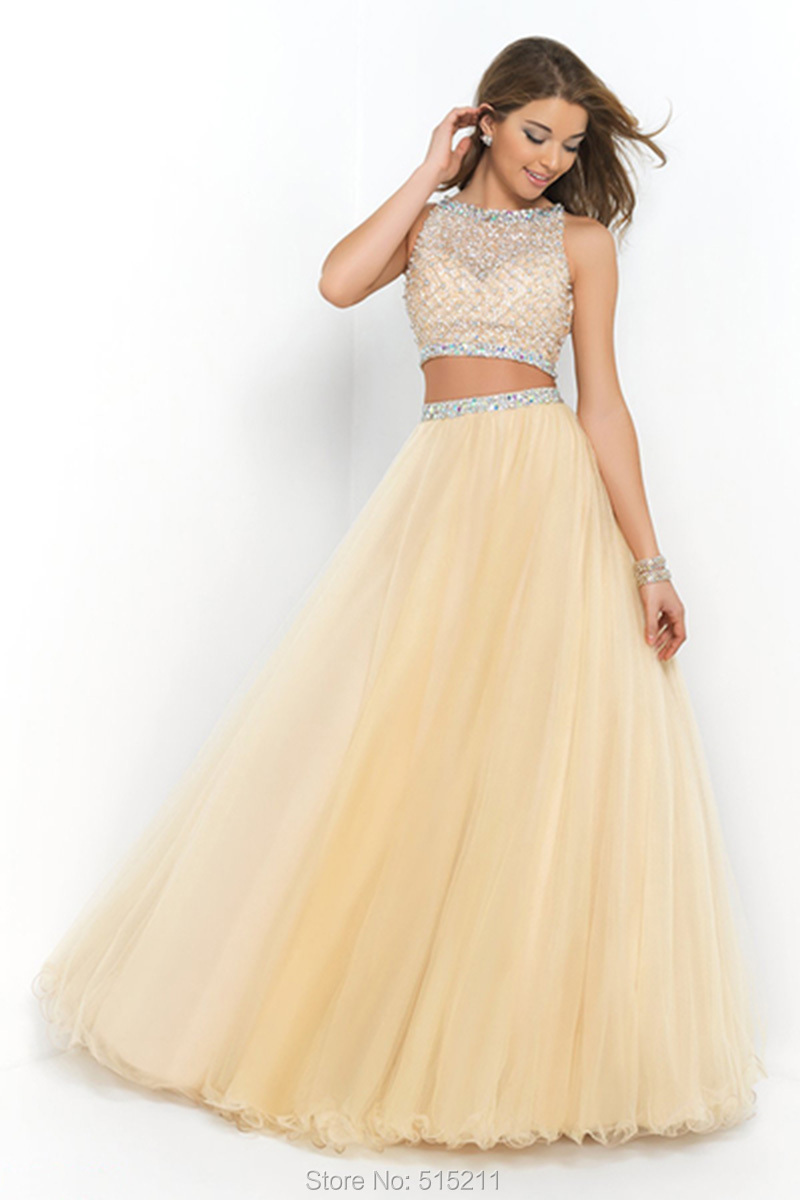 34e3fcc837c Get Quotations · robe de bal 2015 Long Custom Made High Quality Beading  Elegant Two Piece Prom Dress Crop