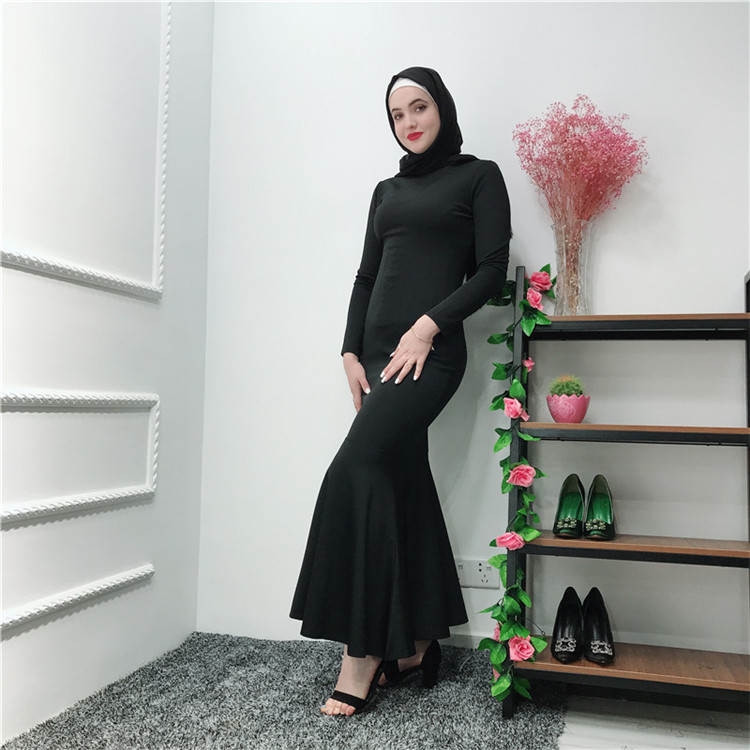 Latest elegant  long sleeves grey thick spandex+polyester material  dubai abaya party dresses for women
