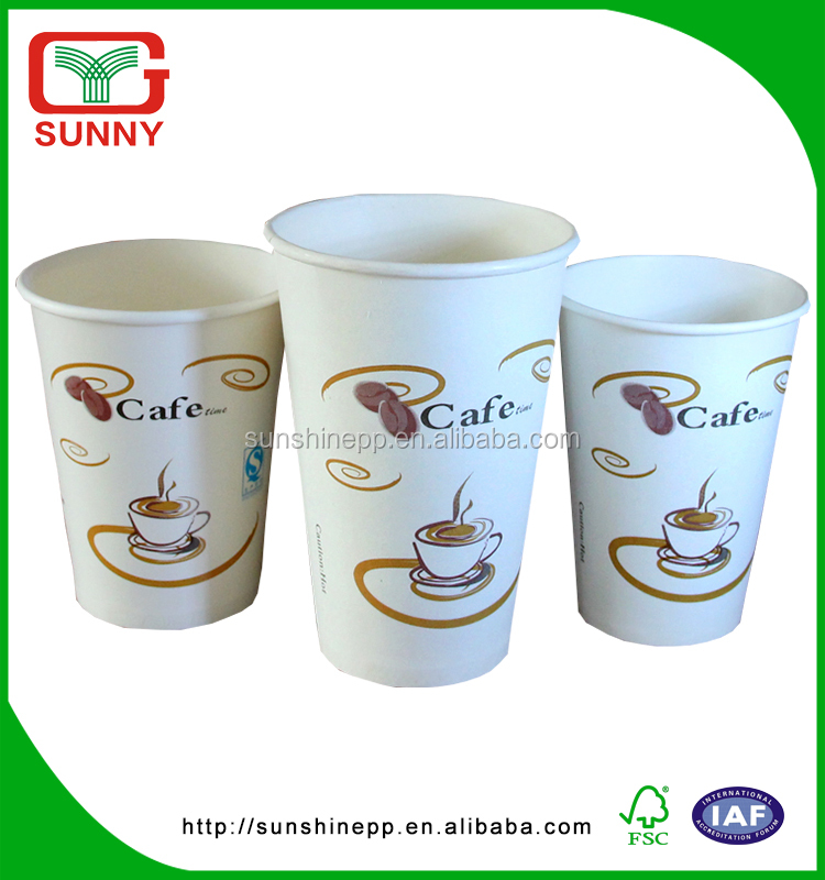 Biodegradable Company Logo Printed Paper Coffee Cup